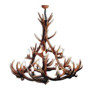 Lustr jelení kulatý 12SV prům.100cm vysoký střed