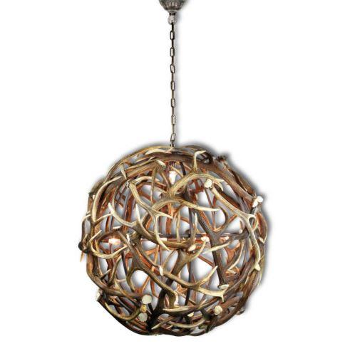Elegantní luxusní lustr z jeleního paroží ve tvaru koule o prům. 100 cm