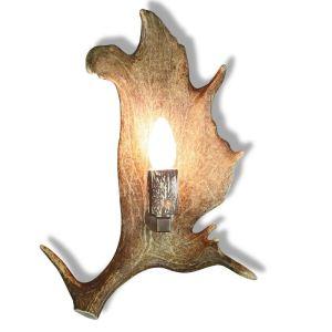 Nástěnná lampa z paroží se staromosaznými komponenty