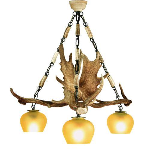 Lustr třílampový ARTURE z daňčího paroží